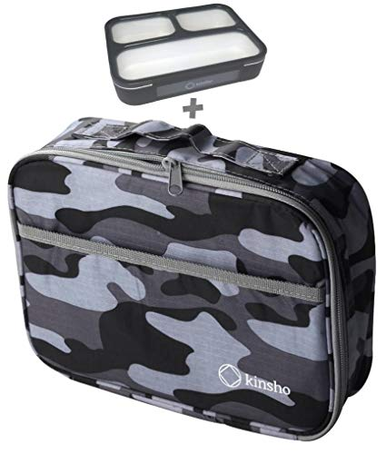 Camo Lunch-box For Men or Boys with Bento-Box | Insulated, Compact Mens Lunch Bag | Small Lunch-Boxes For Adults Teens or Kids | Modern Compact Bags for School Work Travel | Grey Black Camouflage Set