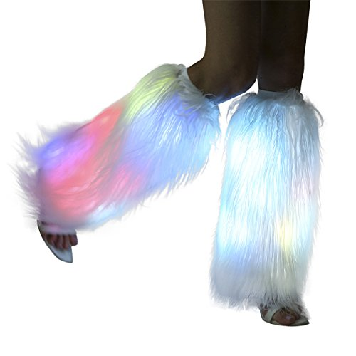 (White Fur Leg Warmers For Women Neon Rave Led Fluffy 80s Sexy Dance Hosiery Fun Furry Light Up Leggings For Girls Boot Edm Christmas Unicorn)