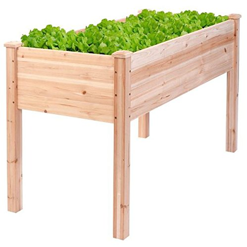 Produit Royal Wooden Raised Vegetable Garden Bed Elevated Planter Flower Box Grow Kit Herb Gardening Plant Outdoor Patio Backyard Flowers Vegetables by Produit Royal