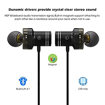 Bluetooth Headphones, Mee'sport X670 Magnetic Wireless Earbuds, in-Ear Sweatproof Earphones with Mic, aptX Stereo, 8 Hrs Playtime, Secure Fit Headsets for Sports Running Workout Gym