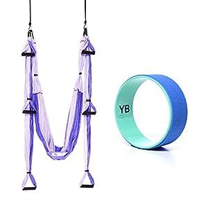 YOGABODY Bundle 2 Items: Yoga Trapeze Purple & Yoga Wonder Wheel Blue [Bundle] with 2 Free DVD