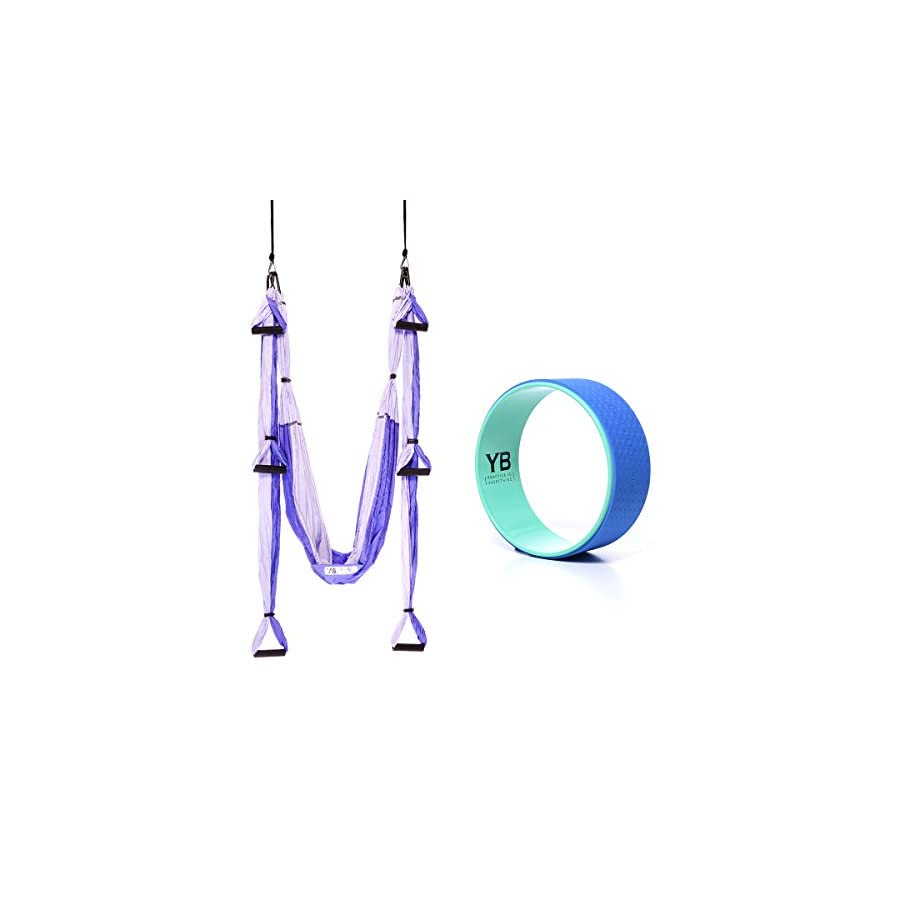 YOGABODY Bundle 2 Items: Yoga Trapeze Purple & Yoga Wonder Wheel Blue [Bundle] with 2 Free DVD