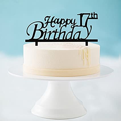 Image Unavailable Not Available For Color Happy 17th Birthday Cake Topper Black