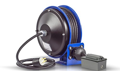 (Coxreels PC10-3012-F Compact efficient heavy duty power cord reel with a duplex G.F.C.I. metal industrial receptacle)