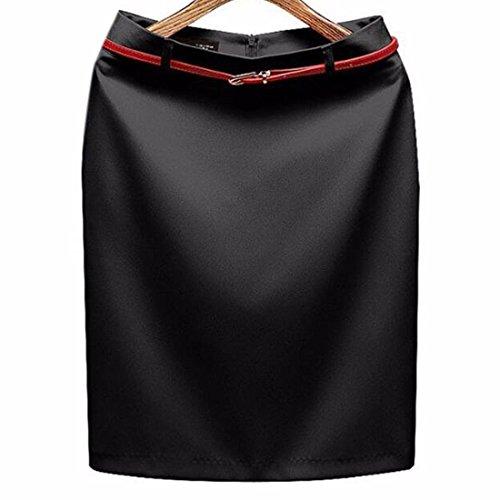 Oficina de las mujeres de la falda de poliester de color solido paquete caderas falda delgada del lapiz Black