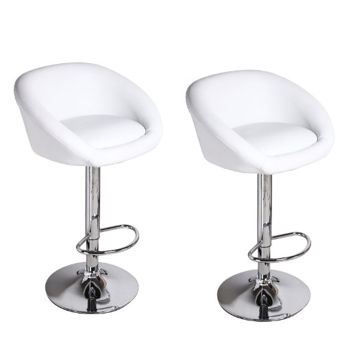 Adeco White Hydraulic Lift Adjustable Barstool Low Wrap Around Back Chair, Leather-Look, Chrome Finish Pedestal Base (Set of Two)