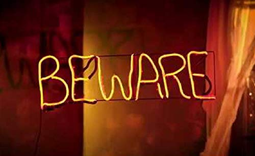 Lighted Flickering Halloween Short Circuit Beware Sign Halloween Window Decoration 24-1/2