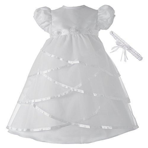 Lauren Madison Baby-Girls Newborn Satin Criss Cross Design Dress Gown, White, 6-9 Months]()