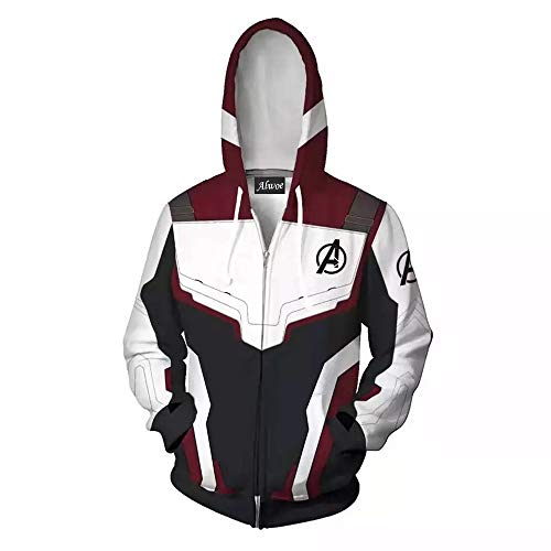 Alwoe Zipper Hooded Sweatshirt Clothing Cosplay 3D Style New Classic/Unisex Adult White/Black