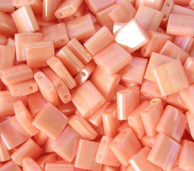 Miyuki Tila Seed Beads Opaque Light Peach AB (TL596) 5x5x1.9mm Square with (2) 0.8mm holes 10 grams