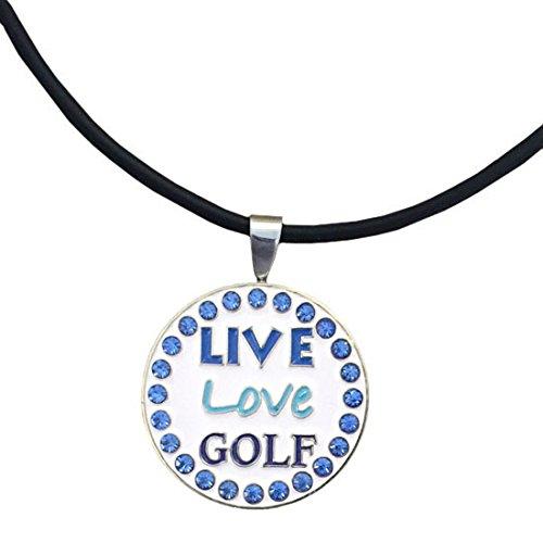 Giggle Golf Bling Live Love Golf Blue Magnetic Golf Ball Marker Necklace for Women