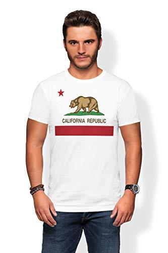 (Arokan California Tshirt for Men - California Flag Bear Shirt for Men White Crew Neck Tshirt)