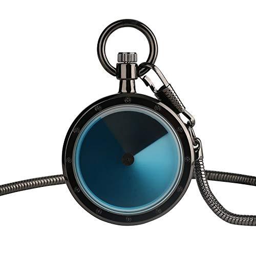(Gradient Concept Men Women Pocket Watch  8 Types Color  Blue Swirl Pointer Quartz Geek Hour Clock  Snake Chain )