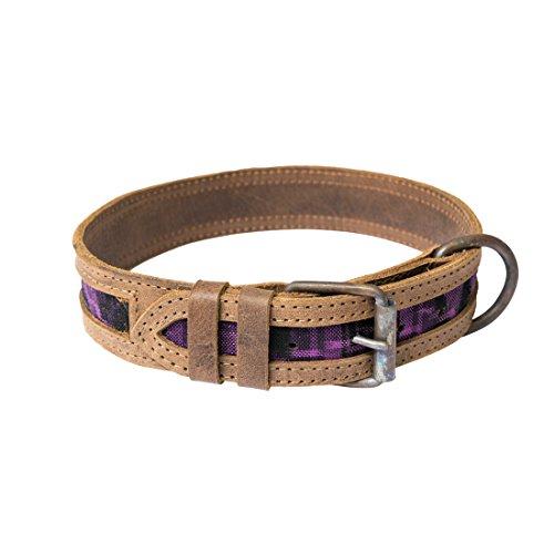 Hide & Drink Rustic Mayan Dog Collar, Tropical (Purple Leather Dog Collar)