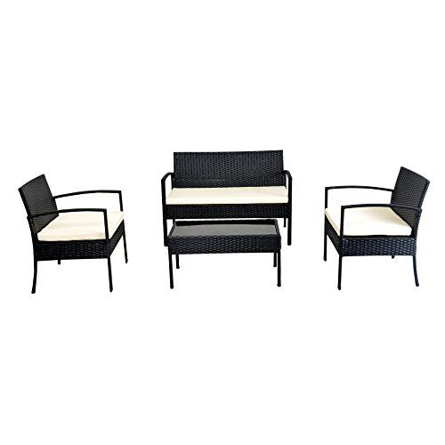 EBS 4 Piece Outdoor Patio Garden Rattan Wicker LoveSeat Sofa + Glass Coffee Table + Chairs with White Cushions Set - Black Finish (Weave Rattan Outdoor Furniture)