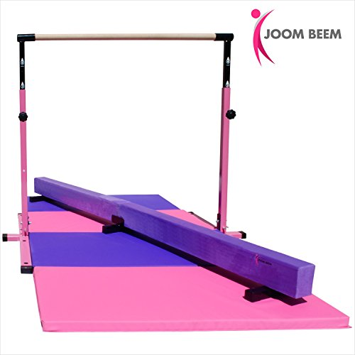 Pink Adjustable (3'-5') Horizontal Bar and 8ft Folding Mat Balance Beam Combo Gym Set Adjustable Folding Parallel Bars