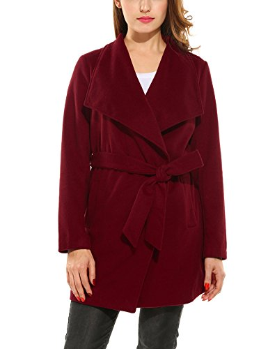 Belted Wool Blend - ACEVOG Women's Lapel Collar Long Sleeve Outwear Belted Wool Blend Wrap Coat(Red,XL)