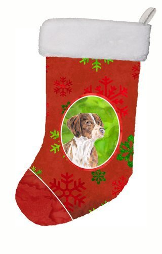 11 x 18 Carolines Treasures Brittany Red and Green Snowflakes Holiday Christmas Stocking Multicolor