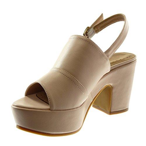 Haut Cheville Sandale 8 Bloc 5 Talon Femme Mule Chaussure cm Mode Lanière Angkorly Rose Lanière Boucle Plateforme xqXPCUOw