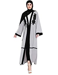 Ababalaya Women's Elegant Modest Muslim Open Front Embroidered Long Maxi Abaya Wrapped S-4XL