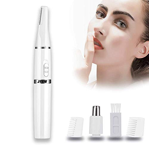 JYSW Nose Hair Trimmer for Men Women 2 in 1 Head Battery-Powered Water Resistant Professional Wet/Dry for Nose Ear Hair,Eyebrows and Beard,White,Pocket Size