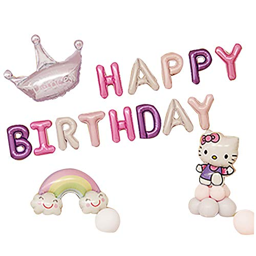 Color Zebra Hellokitty Birthday Decorations Party Decoration Supplies Happy Birthday Balloons Banner Birthday Party Favors for Kids or Girls (Purple) ()