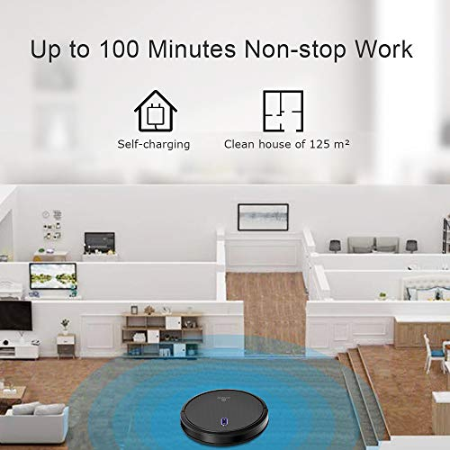 Robot Vacuum, 1400PA Super Suction, 2.7inch Super Thin, 100mins Long Lasting,Self-Charging, Timing Function, Multiple Cleaning Modes, Best Robot Vacuums for Pet Hair, Hard Floor, Carpet