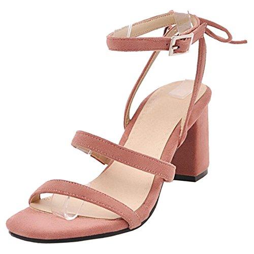 Cheville Sandales Simple Femmes Pink Bride TAOFFEN tU8wfnCqx1