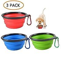 ANSLYQA Collapsible Dog Bowl Travel Bowl Dog Portable Water Bowl for Pet Dog Cat Food Water Feeding Food Grade Silicone Dog Bowl Free Carabiner,3 Pcs