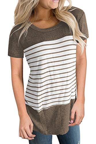 Womens T Shirts Short Sleeve Spring 2019 Fashion Tops Casual Cute Tees Round Neck Coffee M