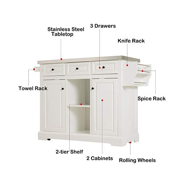 HOMCOM Rolling Kitchen Island with Stainless Steel Top Utility Portable Multi-Storage Cart on Wheels, White