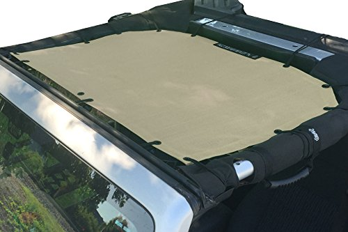 ALIEN SUNSHADE Jeep Wrangler Mesh Shade Top Cover with 10 Year Warranty Provides UV Protection for Front Passengers 2-Door or 4-Door JK or JKU (2007-2017) (Tan)