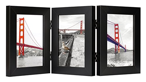 Frametory, 4x6 Inch Hinged Picture Frame with Glass Front - Made to Display Three 4x6 Inch Pictures, Stands Vertically on Desktop or Table Top (4x6 Triple, Black) (4x6 Frame Picture 3)