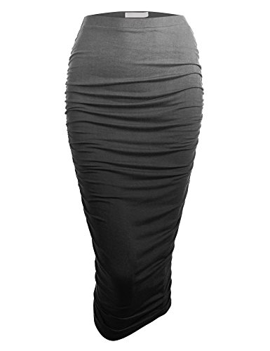 Made By Johnny WB1148 Womens Ombre High Waist Pencil Skirt with Side Shirring S Black