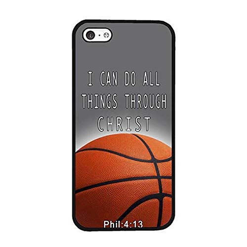 Compatible with iPhone 5c Case Basketball Christian Bible Verse Compatible iPhone 5c Phone Case Phone Shell Design (Iphone 5c Cases That Have Quotes)