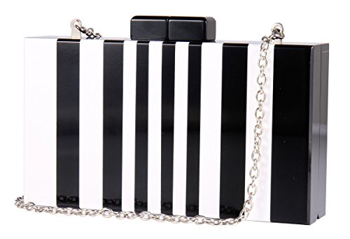 Piano Black for Cocktail White Banquet with Clutches Wedding Women Clutch Chain Acrylic Square Purse and Pattern Handbags for q6tBgwZX
