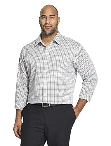 Van Heusen Men's Big and Tall Traveler Stretch Long Sleeve Button Down Blue/White/Purple Shirt, Legacy Bright White1, 2X-Large