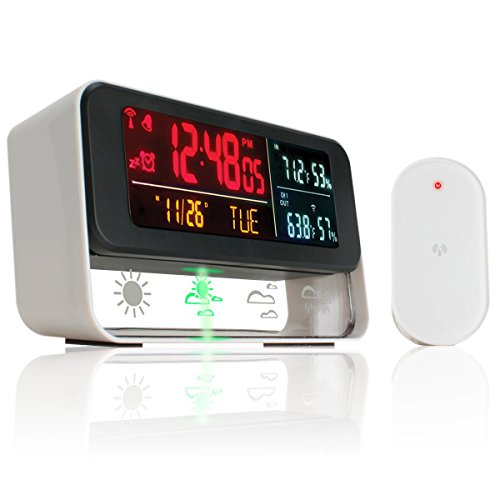 (REFURBISHED) Weather Digital Alarm Clock - Forecast Display with Wireless Outdoor/Indoor Barometric Sensor and Color LED Display - Provides Indoor / Outdoor Temperature , Humidity , Time and Date