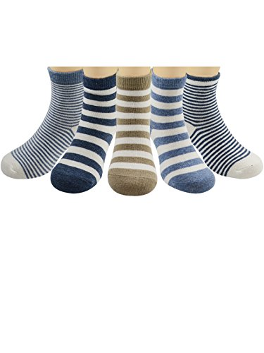 Zando Toddler Boys Socks Baby Infant Girls Cotton Soft Assorted Seamless Children 1-3t Socks Pack of 5 Stripe2 L