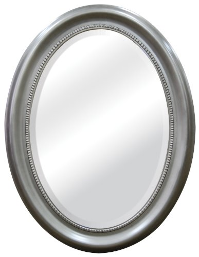 MCS Beaded Oval Wall Mirror, 22.5x29.5 Inch Overall Size, Brushed Nickel (47382)