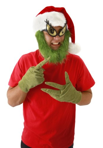 elope Grinch Beard Santa Hat, Green, One (Grinch Costume For Adults)