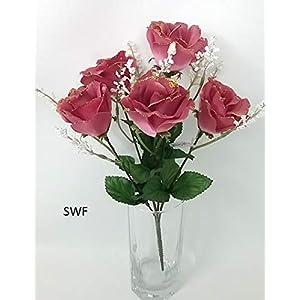 """13.5"""" Gold Trimmed Open Rose Bush Silk Wedding Flowers Bouquets Centerpieces 5 Roses (Mauve) 45"""