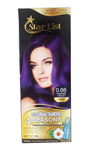 Premium Permanent Hair Colour Cream Dye Goth Cosplay Emo Punk 0.66 Master VIOLET 111ml (equals 2 Dye Boxes !) by Starlist Emo Hair