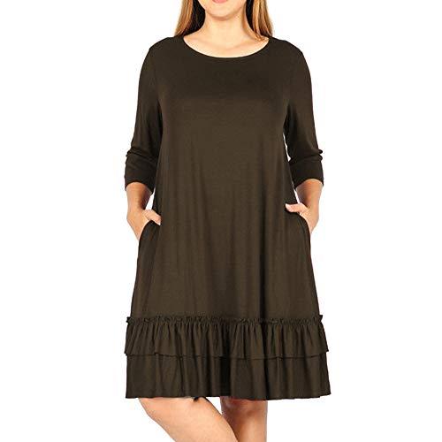AMSKY Boho Floral Dress Long,Fashion Women Solid Plus Size Three Quarter Cascading Ruffle Knee-Length Dress,Wedding Dresses,Brown,XXXXL