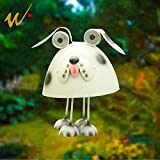 W-DIAN Solar Metal Art Outdoor Decorative Animal Dog Garden Decor