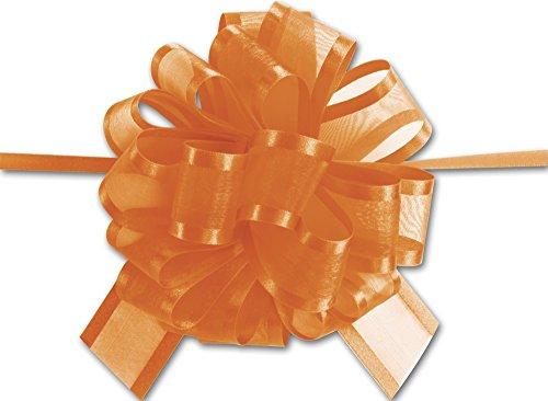 Bows - Orange Sheer Satin Edge Pull Bows, 18 Loops, 1 1/2