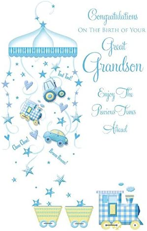 Congratulations On The Birth Of Your Great Grandson Modern Design New Baby  Greeting Card: Amazon.co.uk: Kitchen & Home