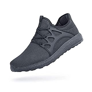 Feetmat Mens Walking Shoes Non Slip Knit Tennis Running Sneakers Slip Resistant Gym Athletic Shoes Fashion Sneakers Grey 11.5