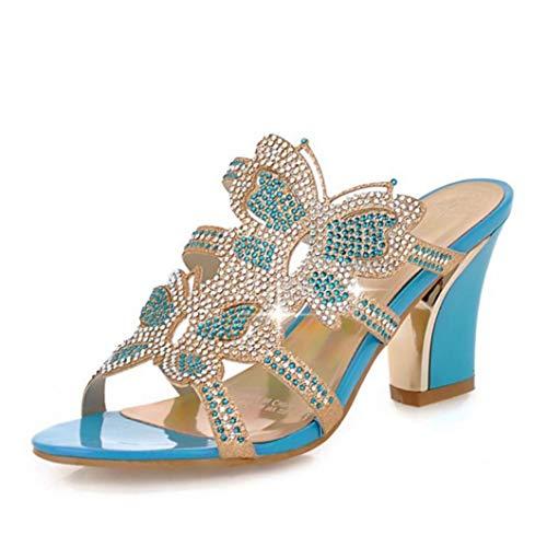 JOYBI Women Open Toe Slippers Sandals Slip On Crystal Butterfly Summer Chunky Block Heels Dress Slides Sandal Blue