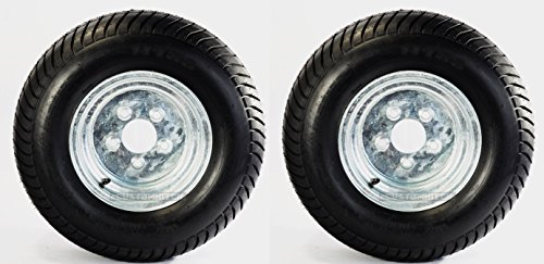 Two Utility Trailer Tires Rims 20.5X8-10 205/65-10 20.5/8-10 5 Lug Range E GALV